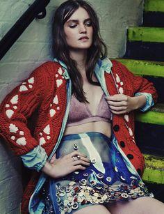 Carina wears Miu Miu skirt, bra, knickers, cardigan & jacket, Fendi Ring right hand, Laura Lee Rings left hand - See more at: http://www.wonderlandmagazine.com/2014/09/editorial-new-faces/#sthash.fA7aKxNv.dpuf**