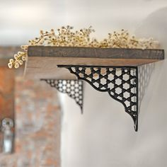 Discovering Fun Bracket Options for Open Shelving in the Kitchen - Our Bright Side Kitchen Diner Lounge, Bracket, Cast Iron Shelf Brackets, Decor, Hanging Basket Brackets, Victorian Kitchen, Honeycomb Shelves, Shelves, Shelf Brackets