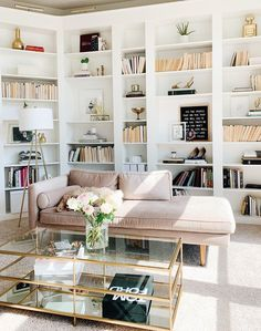 Home Decor Inspiration Bookshelves as wall decor behind this beautiful blush pink sofa in a glam living room decor design via Decor Inspiration Bookshelves as wall decor behind this beautiful blush pink sofa in a glam living room decor design via Glam Living Room, Living Room Interior, Living Room Decor, Home Office Design, Home Office Decor, Living Room Inspiration, Home Decor Inspiration, Decor Ideas, Room Ideas