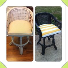 DIY Wicker Bar Stool Makeover  Oil Rubbed Bronze Brushed Metallic Spray Paint and Striped Canvas
