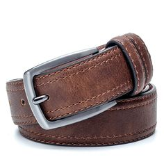 PU+Bonded Leather+Split Leather & Metal Pin Buckle Jeans Belt – APAD Marketing Faux Leather Belts, Bonded Leather, Brown Leather Belt, Leather Buckle, Metal Belt, Metal Pins, Luxury Belts, Buckle Outfits, American Eagle Outfits