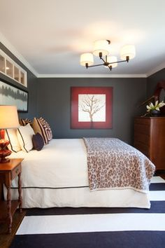 Gray Bedroom Red Accent Design, Pictures, Remodel, Decor and Ideas--LOVE the balance of red and gray here.