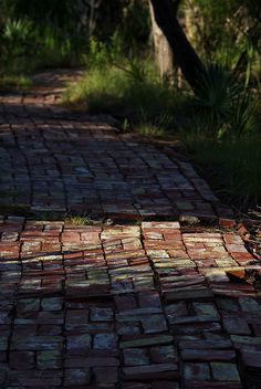well worn brick walk