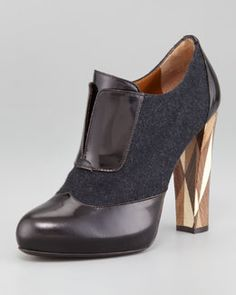 X1BCX Fendi Wuthering Heights Wool Leather-Trim Bootie - Amazing!!!