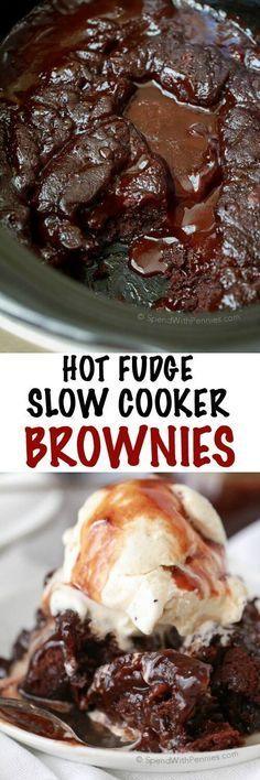 Hot Fudge Slow Cooker Brownies! Just 5 minutes of prep and a few simple…