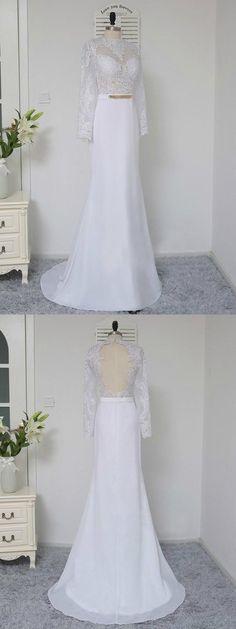 A-Line High Neck Long Sleeves White Chiffon Prom Dresses on Luulla Unique Prom Dresses, Mermaid Prom Dresses, Best Wedding Dresses, Beautiful Dresses, Wedding Dress Chiffon, White Chiffon, White Long Sleeve, Dream Dress, Dress Making