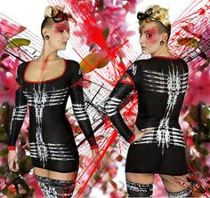 DANE-Nanojet-039-S-039-Dress-Dress-Cyber-Goth-Clubwear-Podium-Bodycon-UV