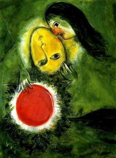"""And, ... the more we can learn to pay attention to others, and truly see them as """"real,"""" just like us, the more we can allow the """"tender gravity of kindness"""" to naturally awaken and bloom. ~ Tara Brach (Image: Marc Chagall, Green Landscape (1949))"""