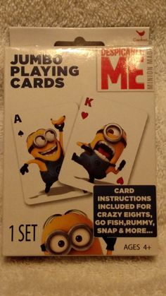 1 set of despicable me jumbo playing cards new
