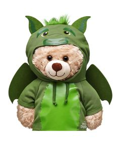 Pete's Dragon Elliot plush toy from Build a Bear Build A Bear Dragon, Build A Bear Clothes Pattern, Tedy Bear, Pete Dragon, Dragon Hoodie, Build A Bear Outfits, Neon Birthday, Teddy Bear Clothes, Dragon Costume