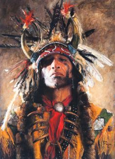 Evocative face. I love this painting. The artist is most known for his sculpting, but is now adding oil painting to his body of work. Continuing to grow as an artist -I love that too... John Coleman, Holy Man at the Buffalo Nation, oil, 23 x 17. [Cowboy Artists of America]