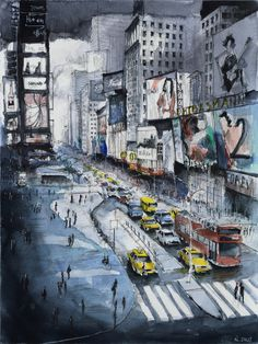 New York painting - Time square painting - New York Watercolor - Giclee Fine Art Poster Print Watercolor Paintings, Original Paintings, Painting Art, Watercolour, New York Painting, Creation Art, Square Canvas, City Illustration, New York Art
