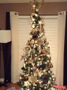 My gold, silver, sparkle, glitter, and pearl slim Christmas Tree ...