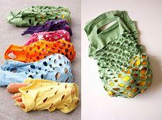 Old t-shirt idea, DIY Farmers Market Bag