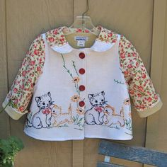 Vintage Hand Embroidered Kittens Girl Jacket size by JackieSpicer