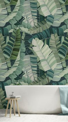Mixed Tropical Camo Leaf Wallpaper Adding a little touch of tropical to your home is never a bad call. These Botanical Murals work great in bedrooms, kitchen-dining area's and living rooms, but looks lovely in bathrooms too. They add just a touch of gre Wallpaper Wall, Bathroom Wallpaper, Pattern Wallpaper, Wallpaper Ideas, Nature Wallpaper, Interior Wallpaper, Tropical Wallpaper, Botanical Wallpaper, Botanical Bathroom