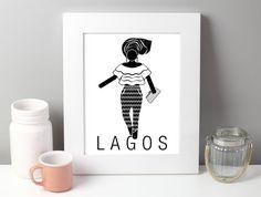 Lagos Art Printable Lagos Nigeria Art Africa travel by VisionCity