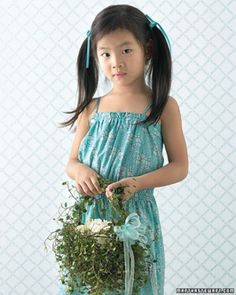 """See the """"Topiary Flower Girl Basket"""" in our Wedding Colors: Emerald and Aqua gallery"""