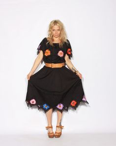 Vintage Oaxaca Balck Embroidered Laced by redpoppyvintageshop, $58.00