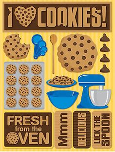 Reminisce 3-D LAYERED Stickers-BAKING COOKIES scrapbooking