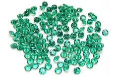 Product Name: Lab Created Emerald  Please note that stones color may look slightly different from the actual pieces!!  Gem Type: Lab-Created Qty: 50 PCS /Lot Approx. Weight:Carat Weight Available Upon Purchase  Size : 3 mm.  Shape:Round  Specific Gravity: 2.90-3.10 Color:Green  Luster: Vitreous Hardness: 7 Refractive Index: 1.70  Treatment: Nanocrystal  Origin: Russia  Clarity: VS-SI  (Clarity Table Scale *IF No inclusions--Internally Flawless--nothing under 10x loupe *VVS Very very sma...