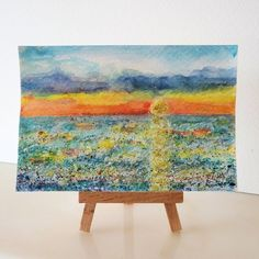 Seascape sunset original wax and glitter painting £8.00