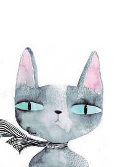 Great idea for kids or adults: paint something fun. #cat watercolor by Luka Va.