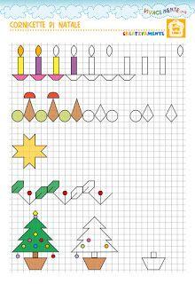VIVACEMENTE il giornalino del cuore e della mente: Cornicette di Natale per i bambini della scuola pr... Graph Paper Drawings, Graph Paper Art, Easy Drawings, Anime Pixel Art, Math Art, Drawing Lessons, Bullet Journal Inspiration, Colouring Pages, Christmas Art