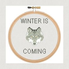 Winter Is Coming Counted Cross Stitch Pattern. JPEG Instant Download. Game of Thrones.Wolf. Pattern.