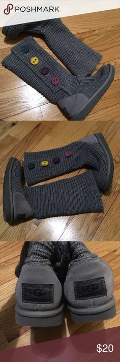 MUST GO! Girls Sz 4 Ugg Sweater Boots My friend gave these to me to Posh. Her daughter wore them this past winter. So, preworn by a kid! Ha!  I'm sure a good cleaning would do wonders and bring them back to life. The structure and soles are in great condition.  Fun colorful buttons!  She's cleaning her real closets too!  No size tag but she says they are a Size 4! Priced to sell or best offer. ((I am anxious to sell these since I don't want to be in the habit of holding my friends things at…