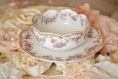 Stunning antique Haviland Limoges France porcelain ramekin and saucer.