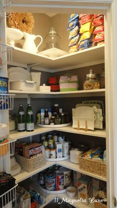Kitchen pantry shelving, corner turn tables, door with handle instead of accordion door and painted black
