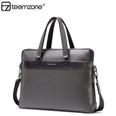 Men Leather Authentic Business Laptop Computer Zipper Shoulder Bag Briefcase  #teemzone #BriefcaseAttache