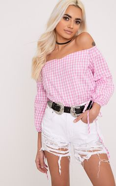 Pink Gingham Check Bardot Shirt In a super cute gingham print and on trend bardot style, thi...