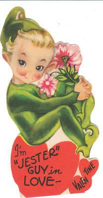 Vintage Valentine Card Elf with Flowers Pixie Die