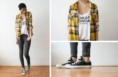 h & m beanie; Olive Clothing plaid shirt; Cheap Monday tanktop; Converse All-Stars.