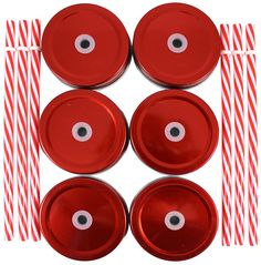 Metal Mason Jar Lids and Plastic Mason Jar Straws Set, Convert Standard Mason Jar to Drinking Glass (6 Pack), Red Lids with Red and White Striped Straws >>> Want additional info? Click on the image.