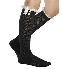 Lace Boot Socks Knee High Socks Ruffled Lace Trim & Buttons Leg Warmers for Boots (Black) for only $5.45! That's 50% off the regular price.