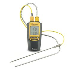 Two Channel Thermocouple. Use it to measure two temperatures at once. For example, the temperature of the air and the temperature of your meat in a smoker. This model has a range between -328º F to 2372º F, with an accuracy of ±1.4º F  (in the range of -148º F to 2372º F). You could even buy the same type of probe the Thermapen uses. Probes sold separately. $69