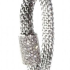 Rowdy Roslyn is Silver Plated Stretch Band Bracelet with Swarovski Crystal set Sleeve