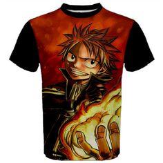 Fairy Tail, Shirt, Anime, Manga, Natsu, T-Shirt, Red, Black, Cosplay, Anime Shirt, Men's Shirt, TShirt, Gift, Kawaii, Fairytail, Fire, Erza