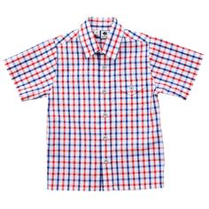 nate short sleeve shirt red white and blue check