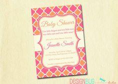 Baby Shower Invitation - Baby Sprinkle - Pink and Orange Baby Girl Shower Invites- digital, printable file