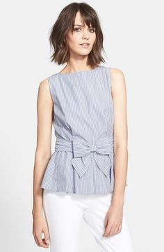 """Free shipping and returns on kate spade new york stripe peplum top at Nordstrom.com. <p><B STYLE=""""COLOR:#990000"""">Pre-order this style today! Add to Shopping Bag to view approximate ship date. You'll be charged only when your item ships.</b></p><br>A signature bow accentuates the peplum hem of a sweetly striped top that has kate spade (figuratively) written all over it."""