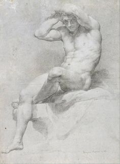 Pompeo Batoni, Academic Nude, Charcoal heightened with black and white chalk on blue-grey paper. The Museum of Fine Arts, Houston,. Male Figure Drawing, Figure Sketching, Guy Drawing, Drawing Poses, Life Drawing, Painting & Drawing, Figure Drawings, Anatomy Sketches, Anatomy Drawing