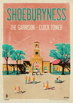 Shoeburyness - The Garrison - Clock Tower Poster by Neil Fendell Railway Posters, Travel Posters, Leigh On Sea, Visit Britain, River Thames, Advertising Poster, Vintage Travel, Wall Collage, Places To Travel