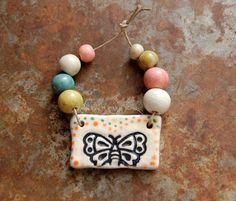 Gaea Ceramic Bead and Art Studio Blog - Sweet butterfly ceramic pendant and ceramic bead set gaea.indiemade.com • gaea.cc