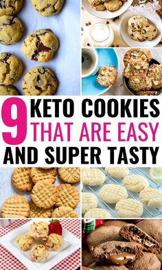 Are you craving for some cookies on the ketogenic diet? Try these easy keto cookies that taste like *the real thing*! From classic chocolate chip cookies to low carb cookies made with peanut butter, cream cheeses, oatmeal, lemon and cream cheese - these 9 Ketogenic Recipes, Keto Recipes, Snack Recipes, Dessert Recipes, Ketogenic Diet, Keto Snacks, Ketogenic Lifestyle, Keto Foods, Breakfast Recipes
