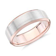 Men's Brushed Beveled Edge Wedding Ring 14k White and Rose Gold (7mm), Men's, Rose Gold