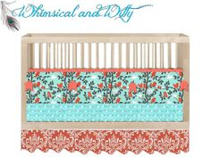 "Custom Crib Bedding ""Tweetie Pie""- Aqua and Coral - Hand Made to Order Boutique Bedding- Customizable, Crib Bumper, Crib Sheet, Skirt"